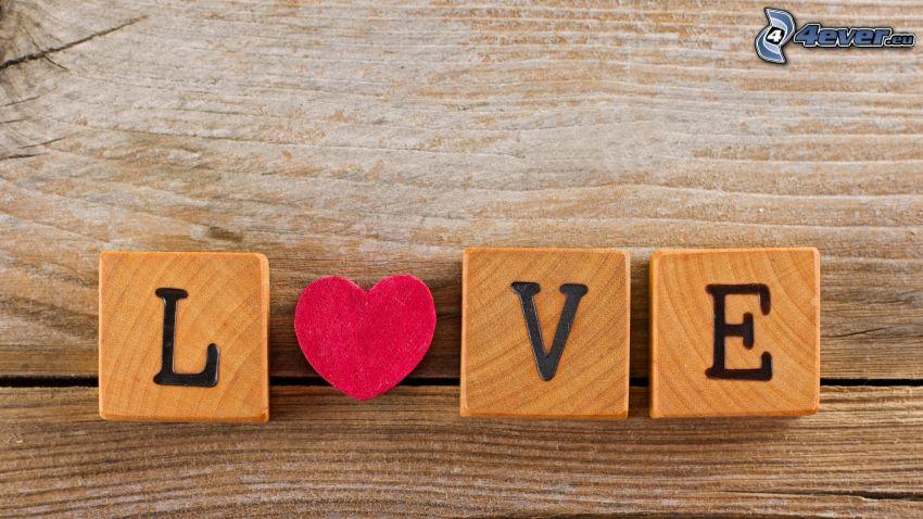 love, blocchi di legno, cuore