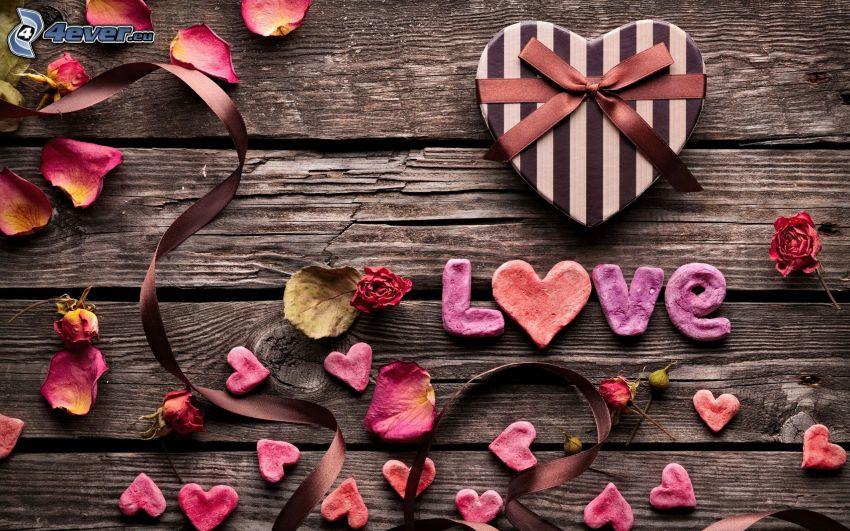 love, cuori, petali di rosa, nastro