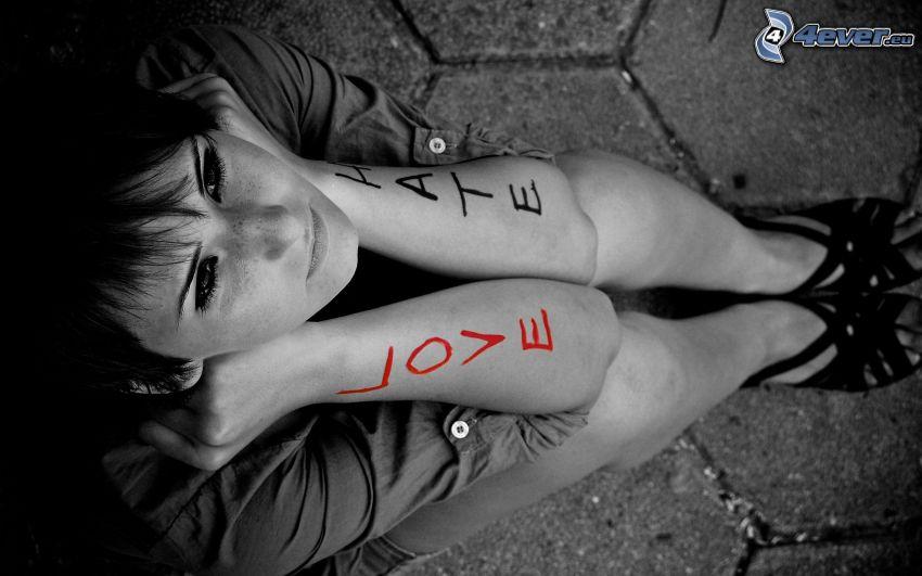 love, hate, ragazza