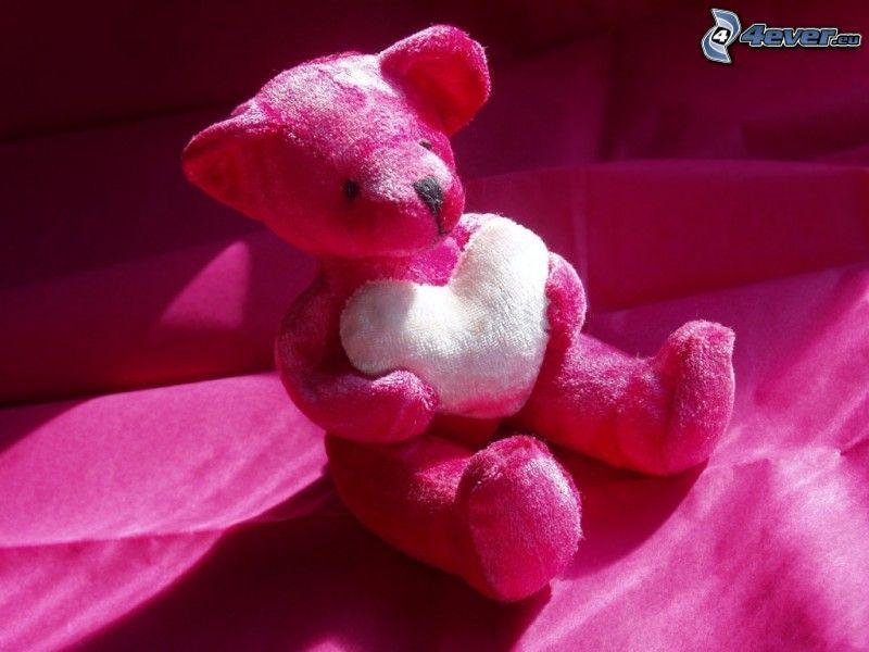 orsacchiotto con cuore, peluche teddy bear, rosa
