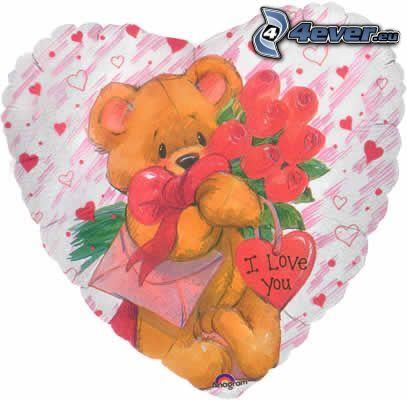 orsacchiotto con fiori, cuscino cuore, I love you