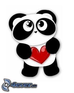 panda, amore, cuore, amicizia
