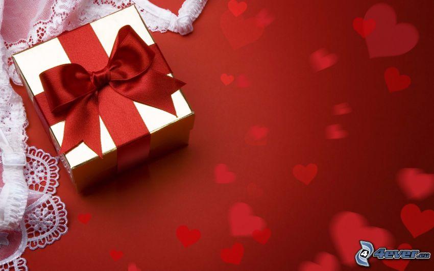 regalo, cuori, fiocco, nastro