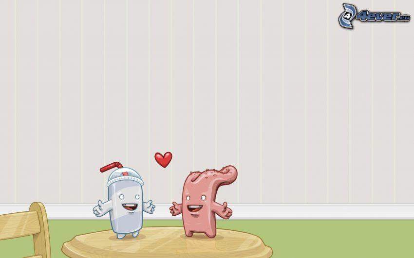 tazza, lingua, coppia animata, cuore