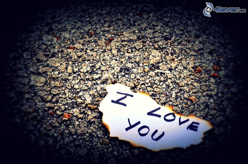 I love you, pezzo di carta, marciapiede