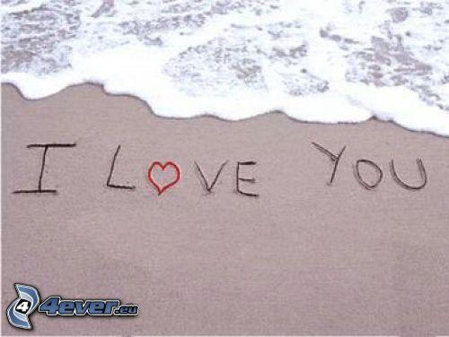 I love you, spiaggia, onda