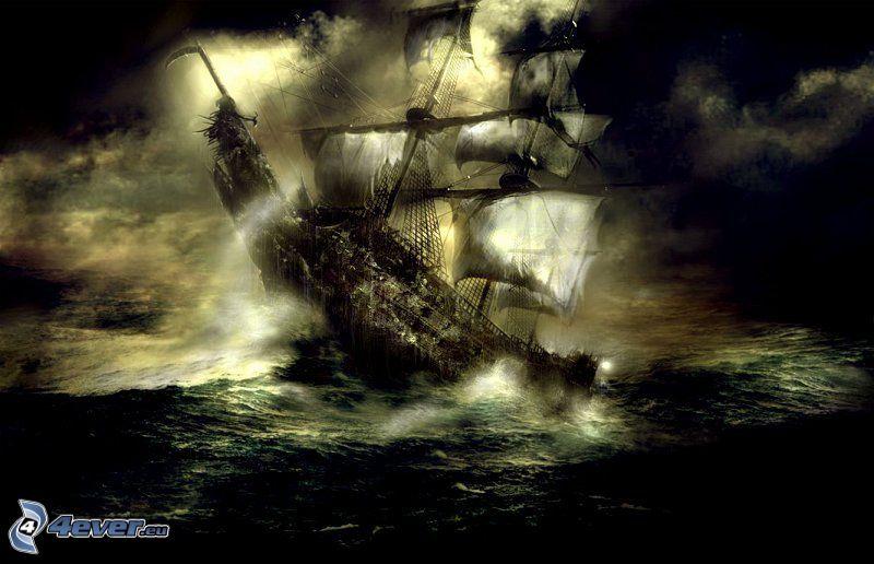 barca a vela disegnata, scuro