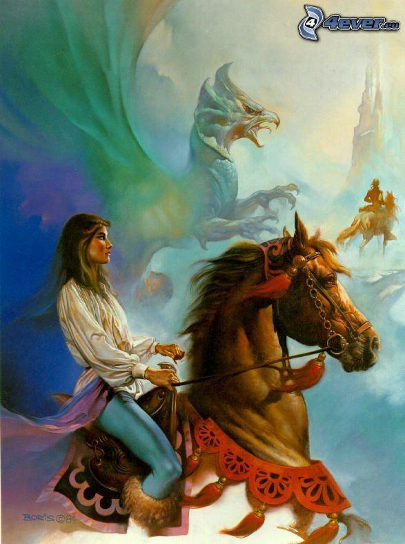 Donna a cavallo, pittura