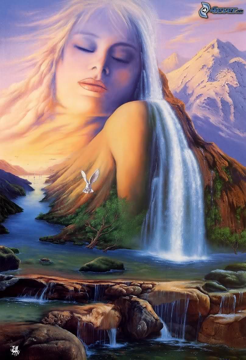 donna animata, capelli, cascata, montagna, natura, acqua