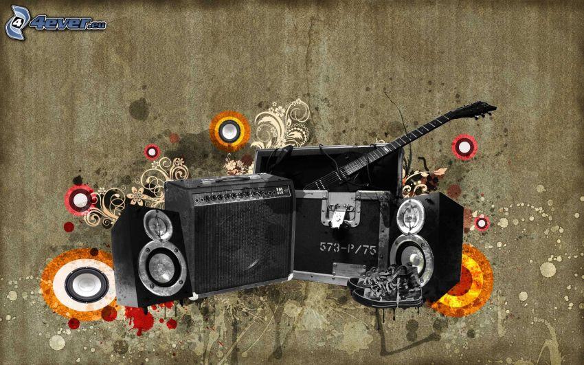 altoparlanti, chitarra, amplificatore, collage