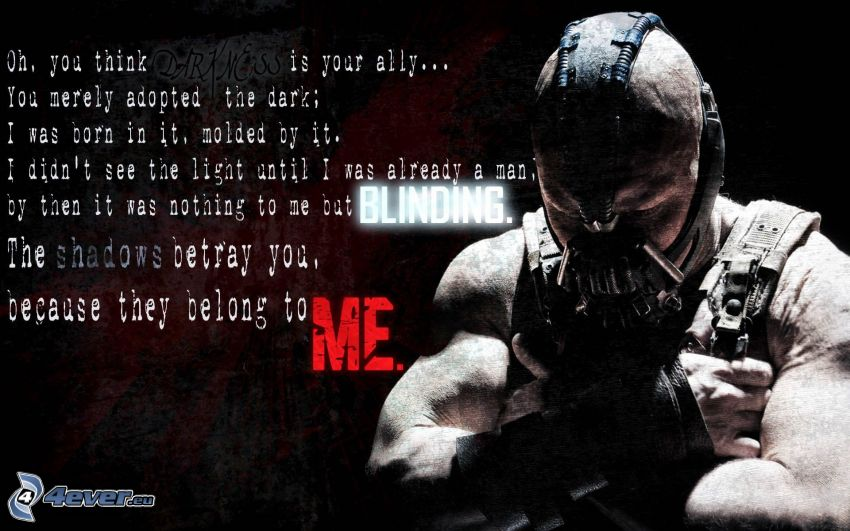 Bane, The Dark Knight, text