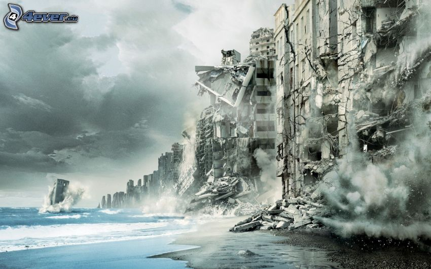 Inception, edifici distrutti, mare