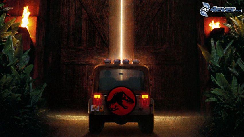 Jurassic Park, Jeep, porta di legno