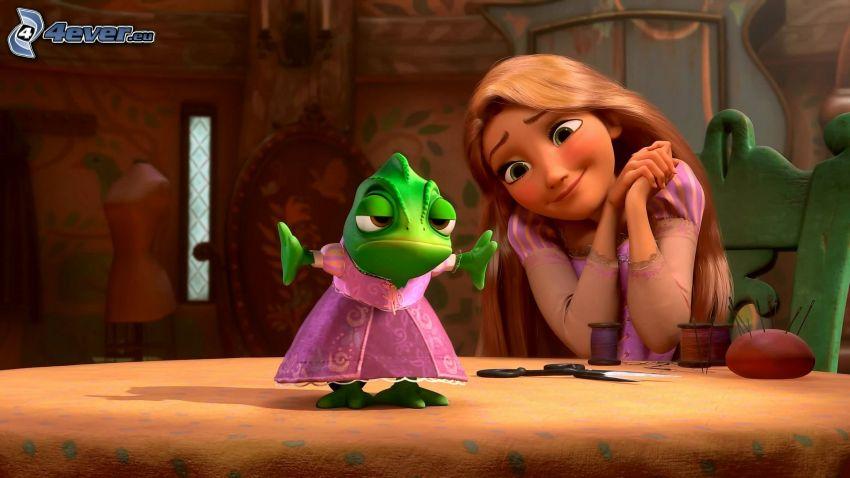 Rapunzel - L'intreccio della torre, Fiaba, camaleonte, vestito rosa, bionda