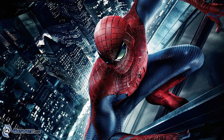 Spiderman, grattacieli, città notturno