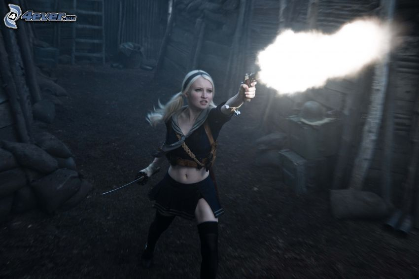 Sucker Punch, ragazza con una arma