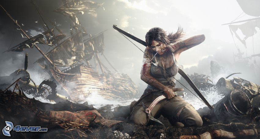 Tomb Raider, barca a vela, guerriera