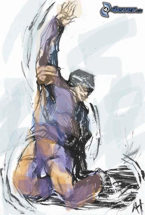 giocatore di hockey, pittura