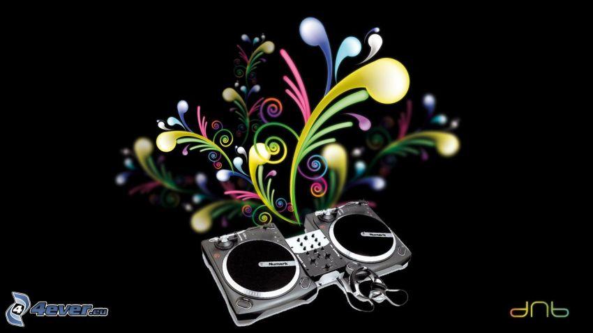 altoparlanti, linee colorate, DJ console