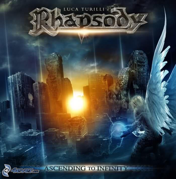 Ascending to Infinity, Rhapsody of Fire, uomo, ali, città rovinata