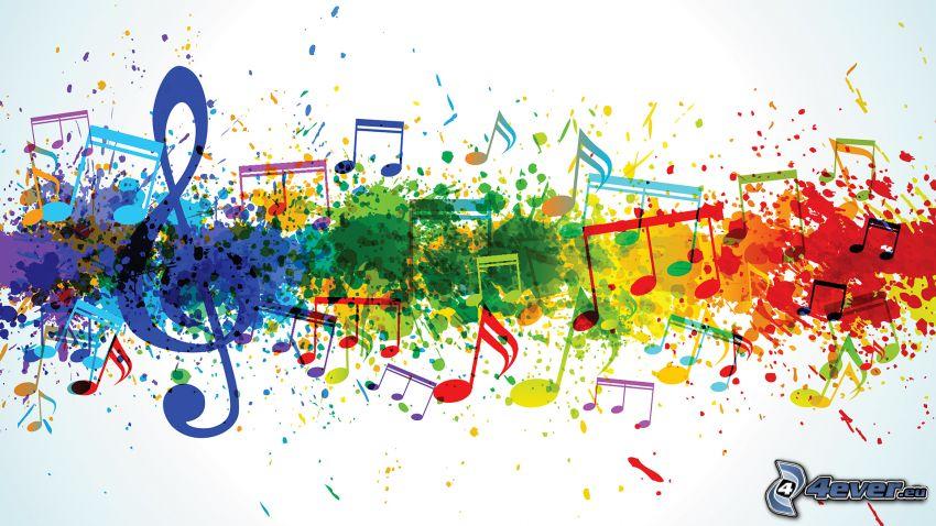 chiave di violino, note, macchie colorate
