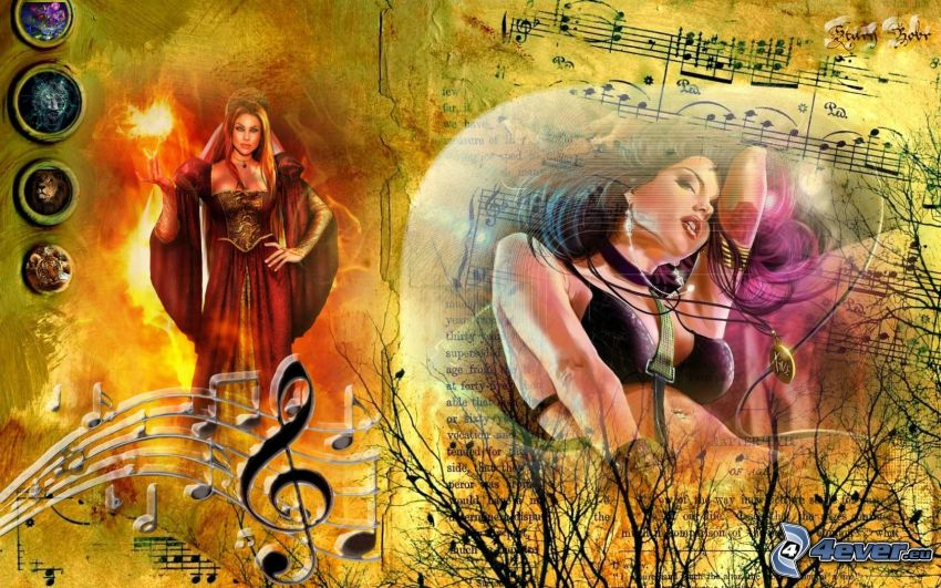 collage musicale, donne, note