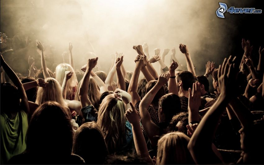 concerto, folla, fans, mani