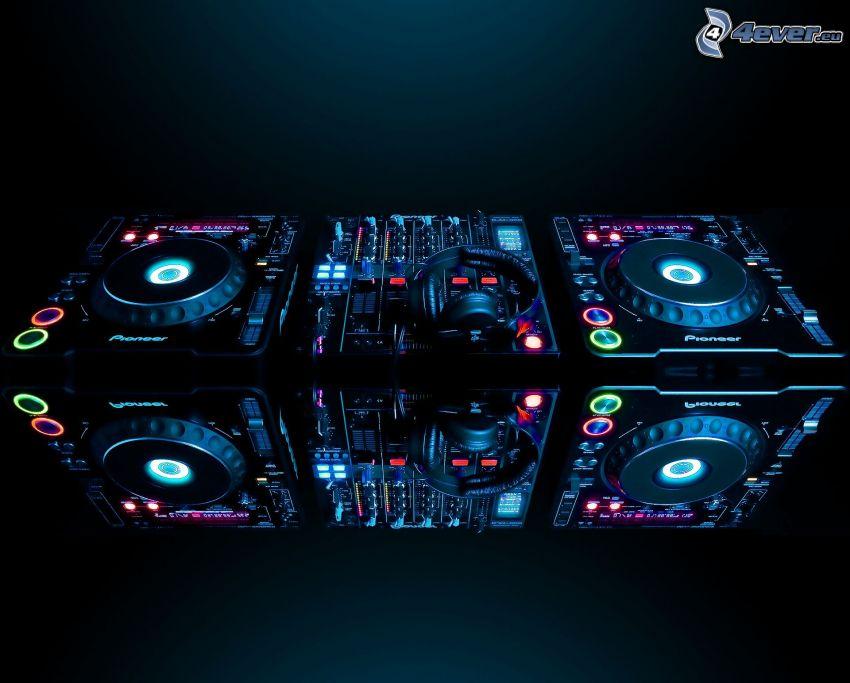 DJ console, Pioneer, cuffie