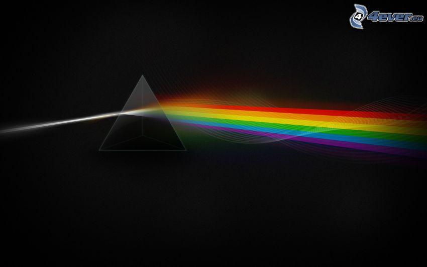 Pink Floyd, piramide, rifrazione della luce, strisce colorate