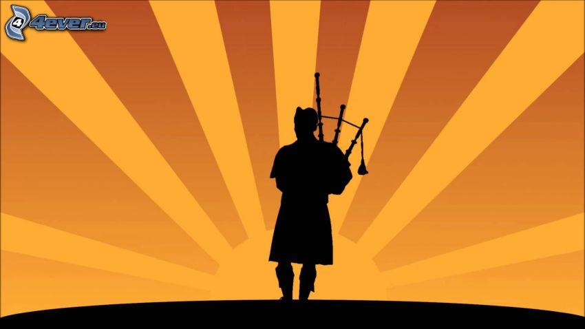 suonare la cornamusa, siluetta di un uomo, sole, raggi del sole