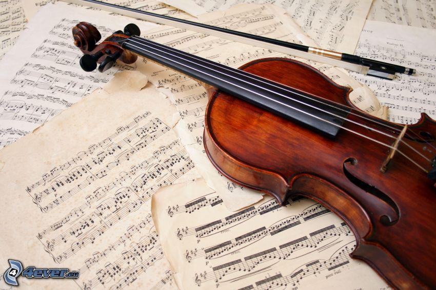 violino, note, archetto