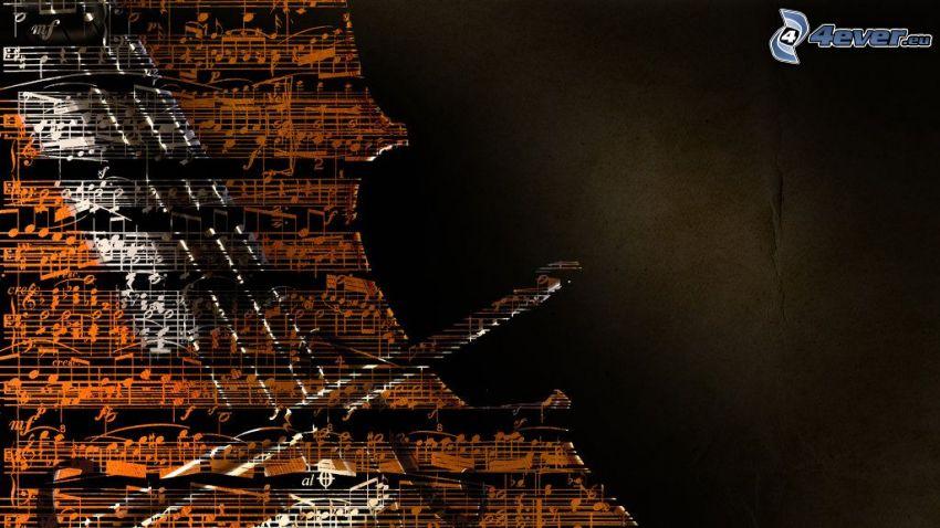 violoncello, note, cartone animato