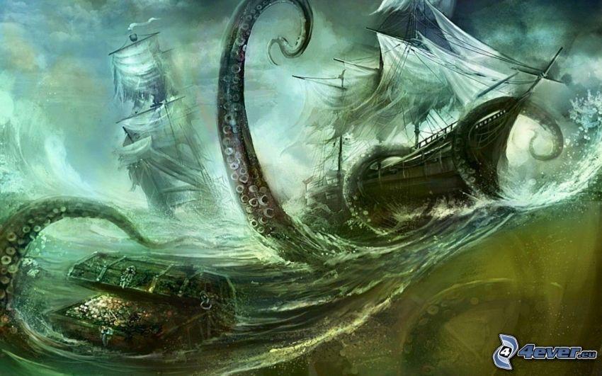 navi, vele, polpo, tentacoli, tesoro