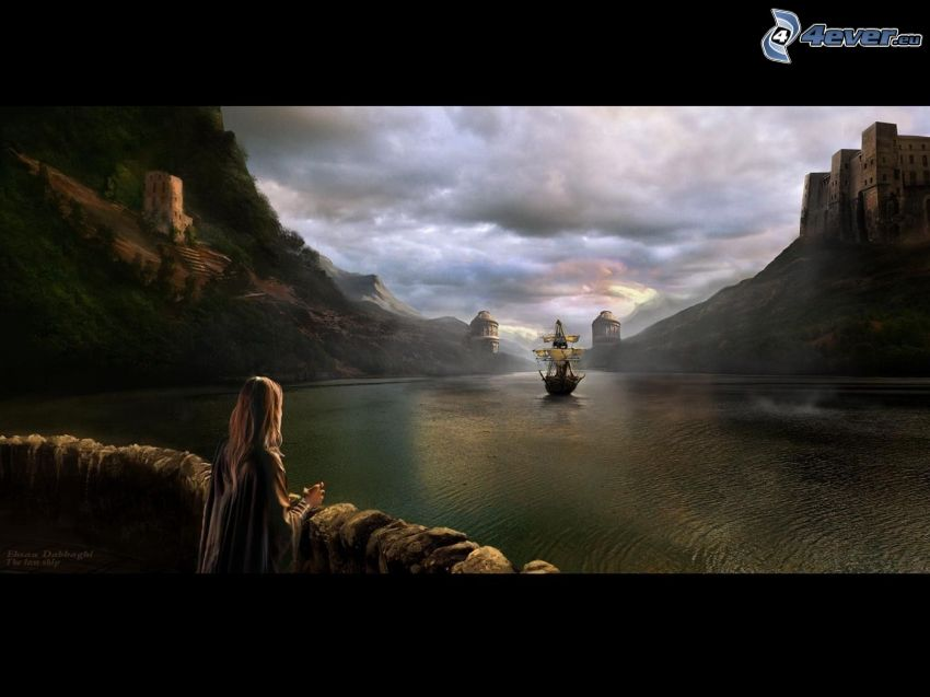 pittura, barca a vela, nave, castello