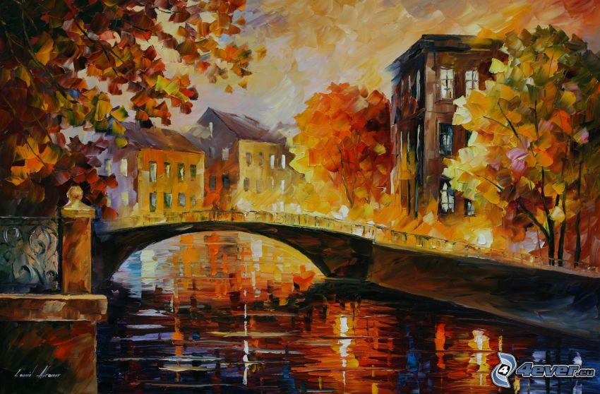 ponte, il fiume, case, alberi, pittura a olio