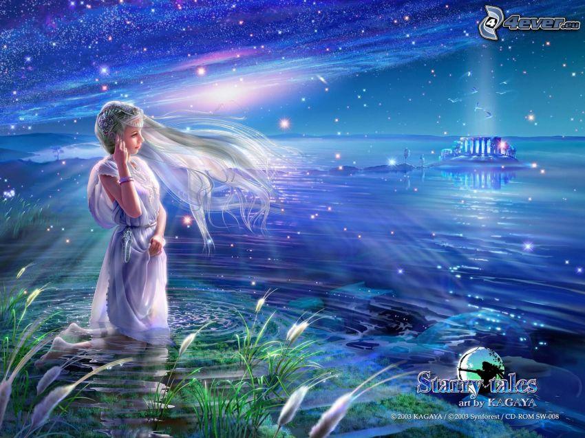 ragazza vicino al lago, stelle, Starry tales