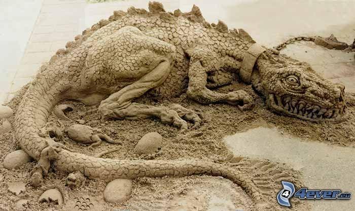 saurio, drago, sculture di sabbia