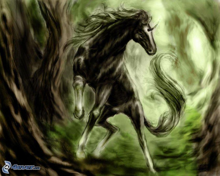 unicorno, cartone animato, arte