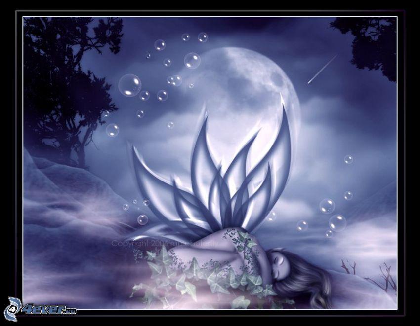 angelo caduto, fiore, fata, luna