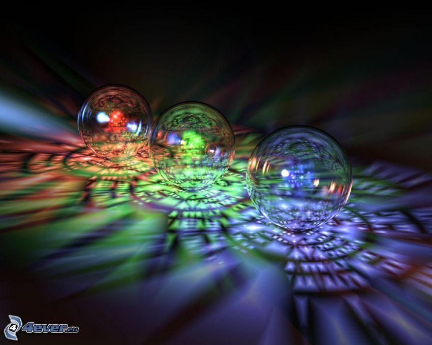 bolle colorate, sfere di vetro