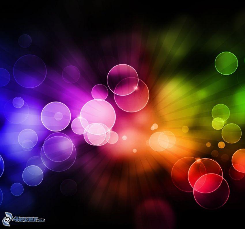 cerchi colorati, linee colorate