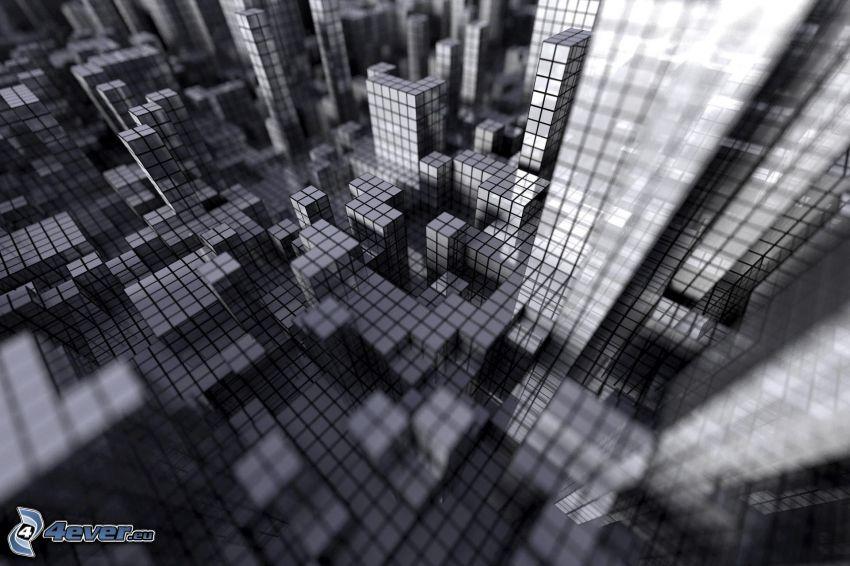 cubi, foto in bianco e nero