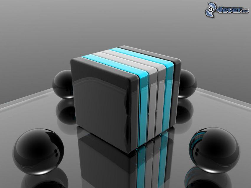 cubo, palle metalliche