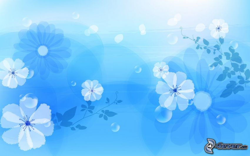 fiori digitali, sfondo blu
