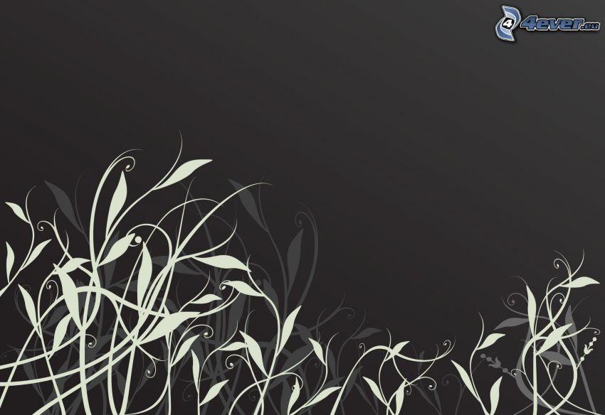 foglie astratte, sfondo grigio