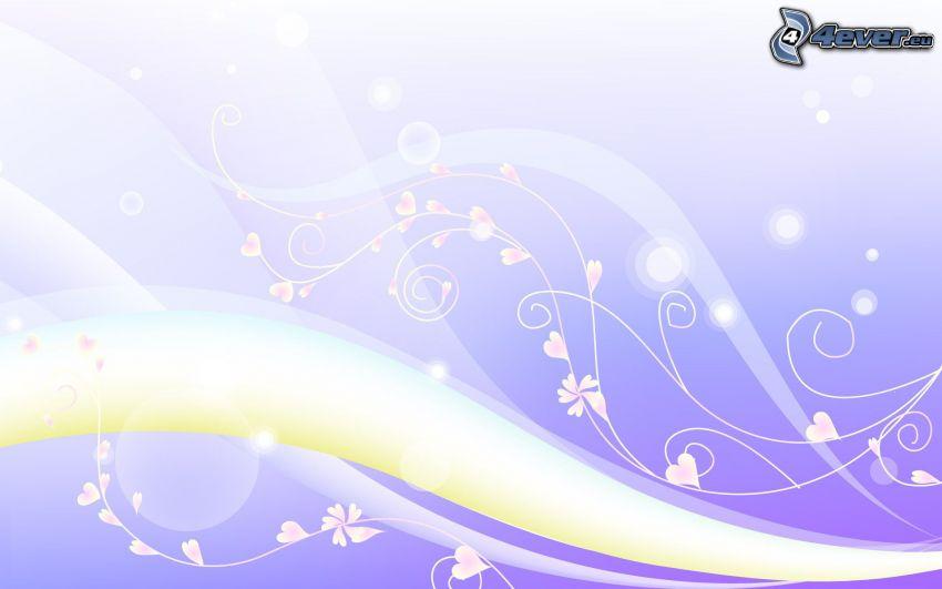 linee bianche, fiori disegnati, cuori