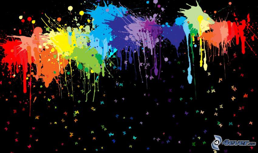 macchie astratte, colori, farfalle