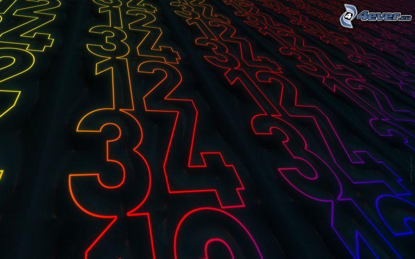 numeri, colori di arcobaleno