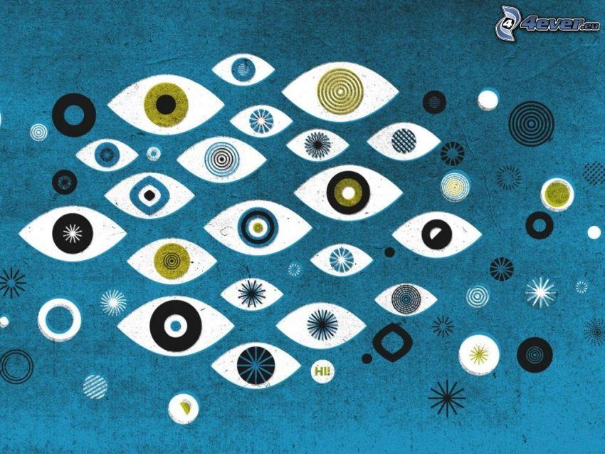 occhio disegnato, occhi