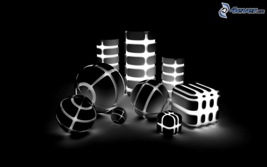 palline, cubi, luci, cilindri astratti